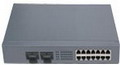2 Fiber Port + 14 Ethernet Port Optic Fiber Switch